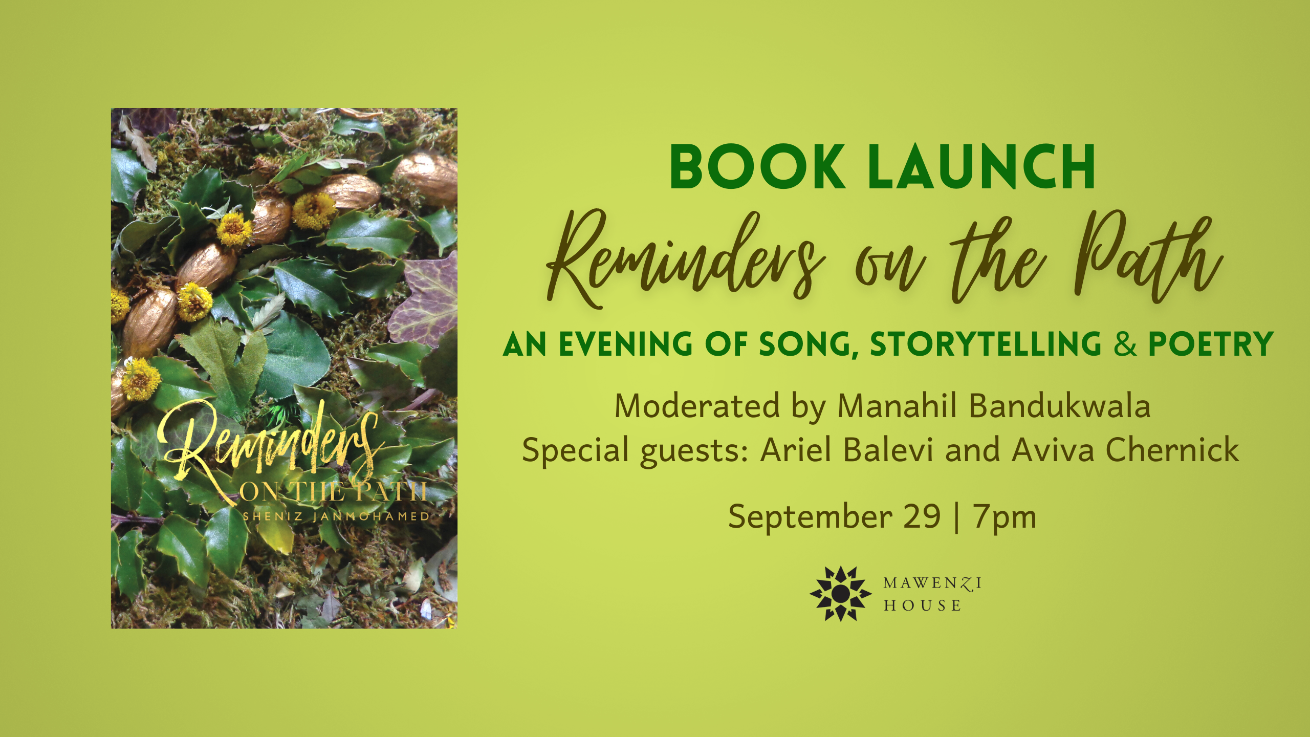 Reminder on the Path Book Launch Sept 29, 7pm